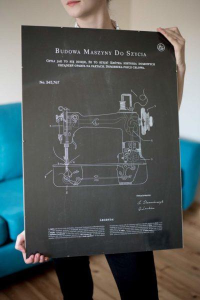 Plakat budowa maszyny do szycia (kolory, A3-B2)