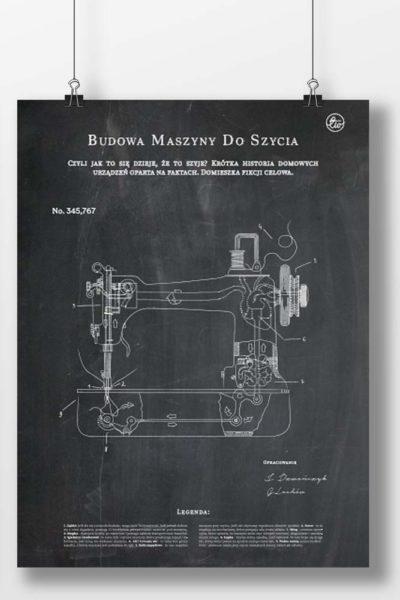 Plakat budowa maszyny do szycia (kolory, A3-B2) – czarny, A3 (29,7x42cm)